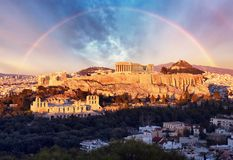 Acropolis of Athens, Greece, with the Parthenon Temple during sunset with rainbow stock photography