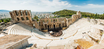 The Acropolis of Athens Greece - Theatre of Dionysus. Panorama from top of the object. View on all the athens from the hill Stock Photography