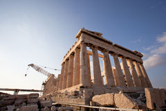 Acropolis of Athens, greece under construction. Artistic view of Parthenon, Acropolis ,Athens,Greece Stock Images