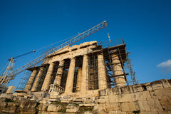 Acropolis of Athens, greece under construction. Artistic view of Parthenon, Acropolis ,Athens,Greece Royalty Free Stock Photography