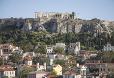 The Acropolis of Athens. This image show a view of the Acropolis of Athens. There are some residential buildings visible in the bottom part of the image, and Royalty Free Stock Images