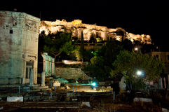 Acropolis of Athens at night. Royalty Free Stock Photo