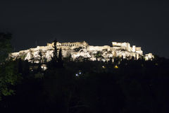 Acropolis of Athens at night Royalty Free Stock Photo