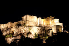 Acropolis of Athens at night. View from Areopagus hill. Royalty Free Stock Photography