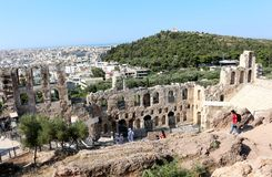 Acropolis of Athens, Odeon of Herodes Atticus Royalty Free Stock Photo