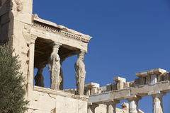 Acropolis of Athens. Older temple of Athena Polios and Parthenon Stock Image