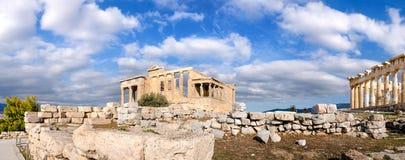 The Acropolis of Athens, panoramia with Erechtheion and Partheno Royalty Free Stock Image