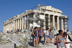 Acropolis of Athens. Parthenon and tourists. Greece Stock Photos