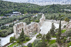 Acropolis of Athens. Remains of Odeon of Herodes Atticus Stock Photography