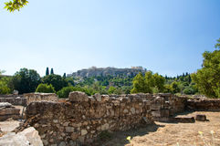 The Acropolis of Athens seen from the the Agora. Greece. Royalty Free Stock Photo
