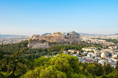 Acropolis of Athens seen from Filopappos Hill. Athens, Greece. Stock Photography
