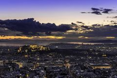 Acropolis and Athens at sunset, Greece Royalty Free Stock Photography