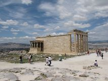 Acropolis in Athens. Temple of the Erechtheum. Ancient Greek civilization. Mediterranean area. royalty free stock photos
