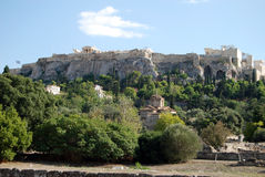 Acropolis of Athens. View at The Acropolis of Athens from the Agora Royalty Free Stock Image