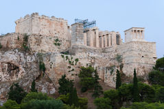 Acropolis of Athens from west. Acropolis of Athens view from west with Propylaea and temple of Athena Nike Royalty Free Stock Photo