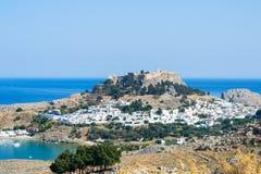 Acropolis av Lindos Arkivfoton