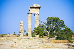 Apollo tempel, Rhodes, Grekland Arkivbilder