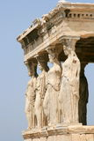 Acropolis Caryatids. Athens, Greece - Caryatids, sculpted female figures, used as columns to hold portion of the roof of the erechtheum. Located on the north Stock Image