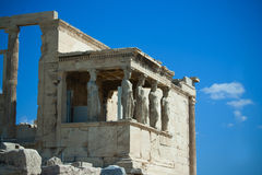 Acropolis-Caryatids. Caryatids At The Erechteion in Athens, Greece Royalty Free Stock Images