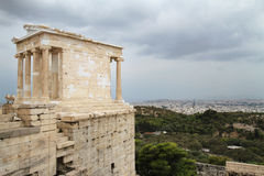 Acropolis Citadel at Athens Greece. Side view showing part of the Acropolis castle in the Greek capital Athens. Shot against cloudy skies and overlooking the Stock Photo