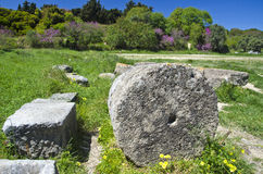 Acropolis columns ruins in Rhodes island Stock Images