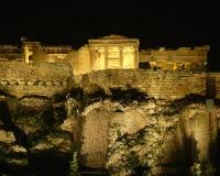 Acropolis, Erechtheum temple illuminated Royalty Free Stock Photo