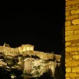 Acropolis, Erechtheum temple illuminated Stock Photo