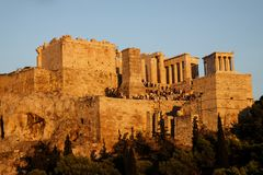 The Acropolis in the evening sun stock image