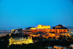 Acropolis in the evening after sunset Stock Photography