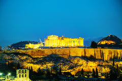 Acropolis in the evening after sunset Royalty Free Stock Photos