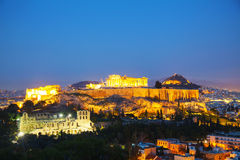 Acropolis in the evening after sunset Stock Photos