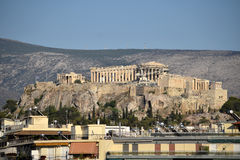 Acropolis from far away. The Acropolis of Athens as it can be seen from the Gazi area Royalty Free Stock Photos