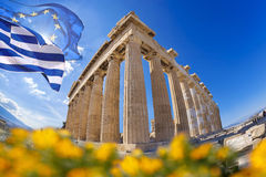 Acropolis with flag of Greece and flag of European Union in Athens, Greece Royalty Free Stock Images
