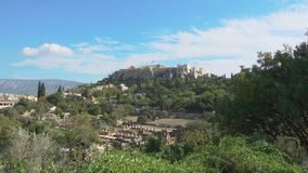 Acropolis hill in Athens stock video footage