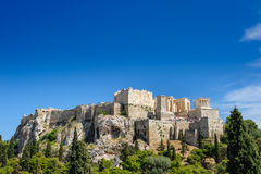 Acropolis hill daytime. Ancient Acropolis during daytime. Athens Greece. Lot of copyspace Stock Photo