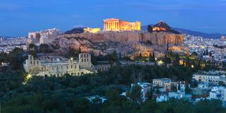 Acropolis Hill and Parthenon in Athens, Greece Stock Photography