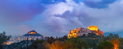 Acropolis Hill and Parthenon in Athens, Greece Stock Image