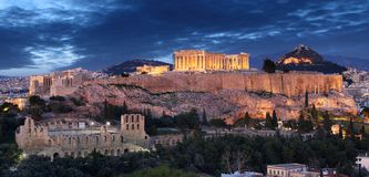 Acropolis hill - Parthenon temple in Athens at night, Greece royalty free stock images