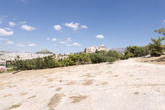 Acropolis from the hill of Pnyka Royalty Free Stock Photography