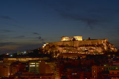 Acropolis  illuminated, Athens Greece Stock Photo