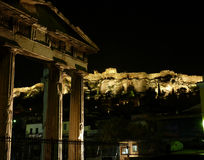 Acropolis illuminated in the night Stock Photo