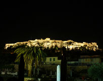 Acropolis illuminated in the night Royalty Free Stock Photo
