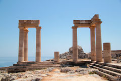 The Acropolis on the island of Lindos Royalty Free Stock Images