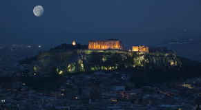 Acropolis the landmarks of athens. Illuminated Royalty Free Stock Photography