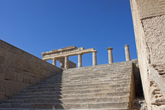 Acropolis of Lindos. Rhodes island, Ruins of the temple royalty free stock images