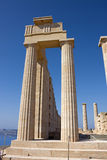 Acropolis of Lindos. Rhodes island, Ruins of the temple stock images