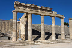 Acropolis of Lindos. Rhodes island, Ruins of the temple royalty free stock photo