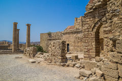 Acropolis of Lindos  archeological site at Rhodes Island Greece Royalty Free Stock Photos