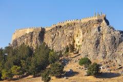 Acropolis in Lindos Stock Photos