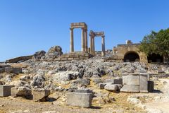 Acropolis of Lindos. At the island of Rhodes, Greece. Doric temple of Athena Lindia IV century, columns of the Hellenistic stoa Stock Image